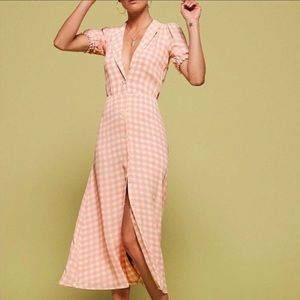 Reformation Joanie Pink White Check Maxi Dress
